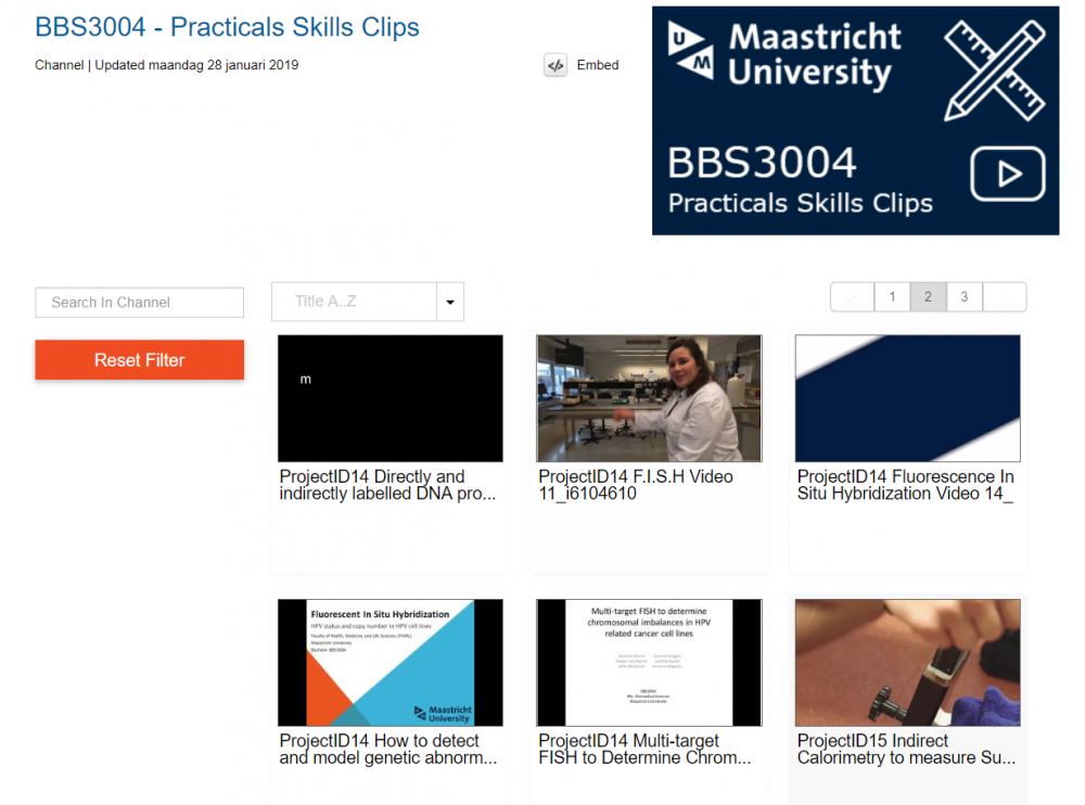 Screenshot of Mediasite catalogue with student videos