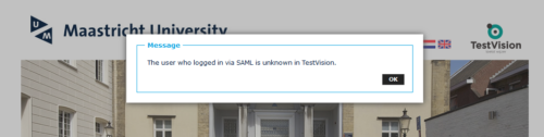 Showing the error message students can receive when logging in to TestVision.