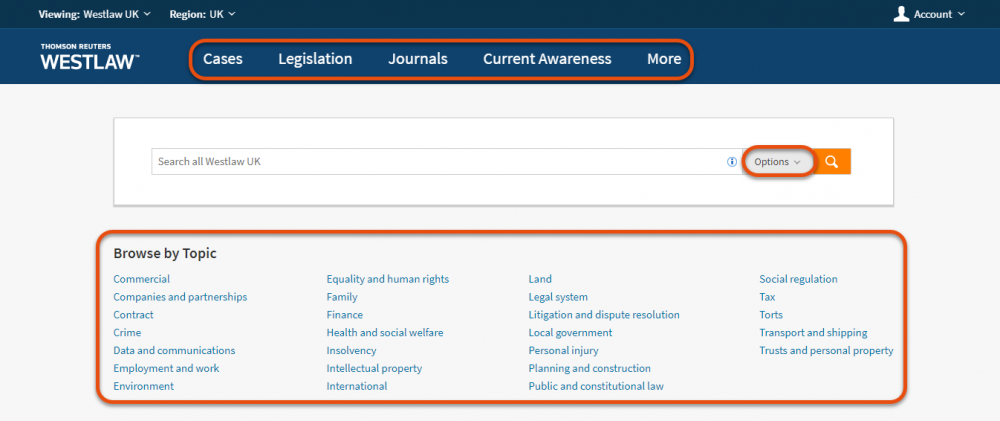 Westlaw UK new look homepage: The collections Navigation Bar, Options button and Browse by Topic highlighted.