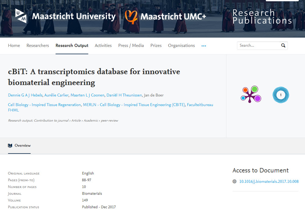 cBiT A transcriptomics database for innovative biomaterial engineering