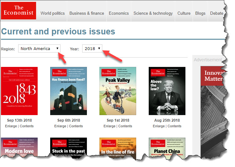 New: The Economist online available for UM students and staff