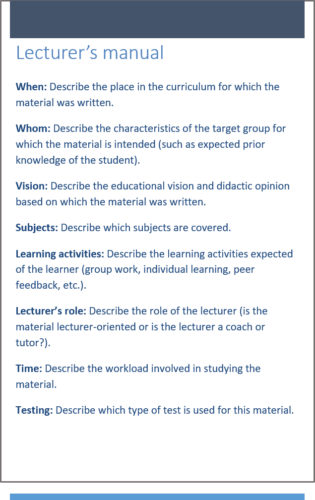 Lecturer's manual when creating material