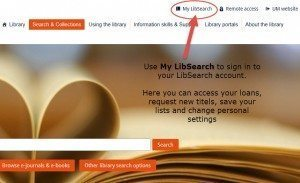 My LibSearch sign in screen