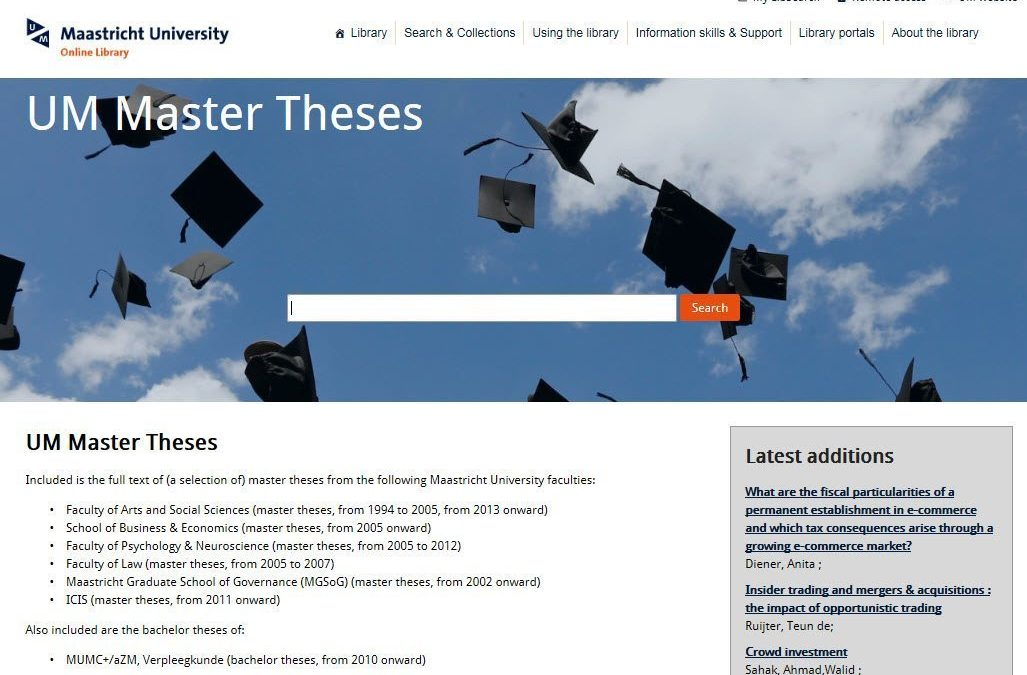 thesis database maastricht university All databases all journals course reserves services for locating dissertations and theses e-thesis at the university of helsinki university of pretoria electronic theses and dissertations dissonline (germany.