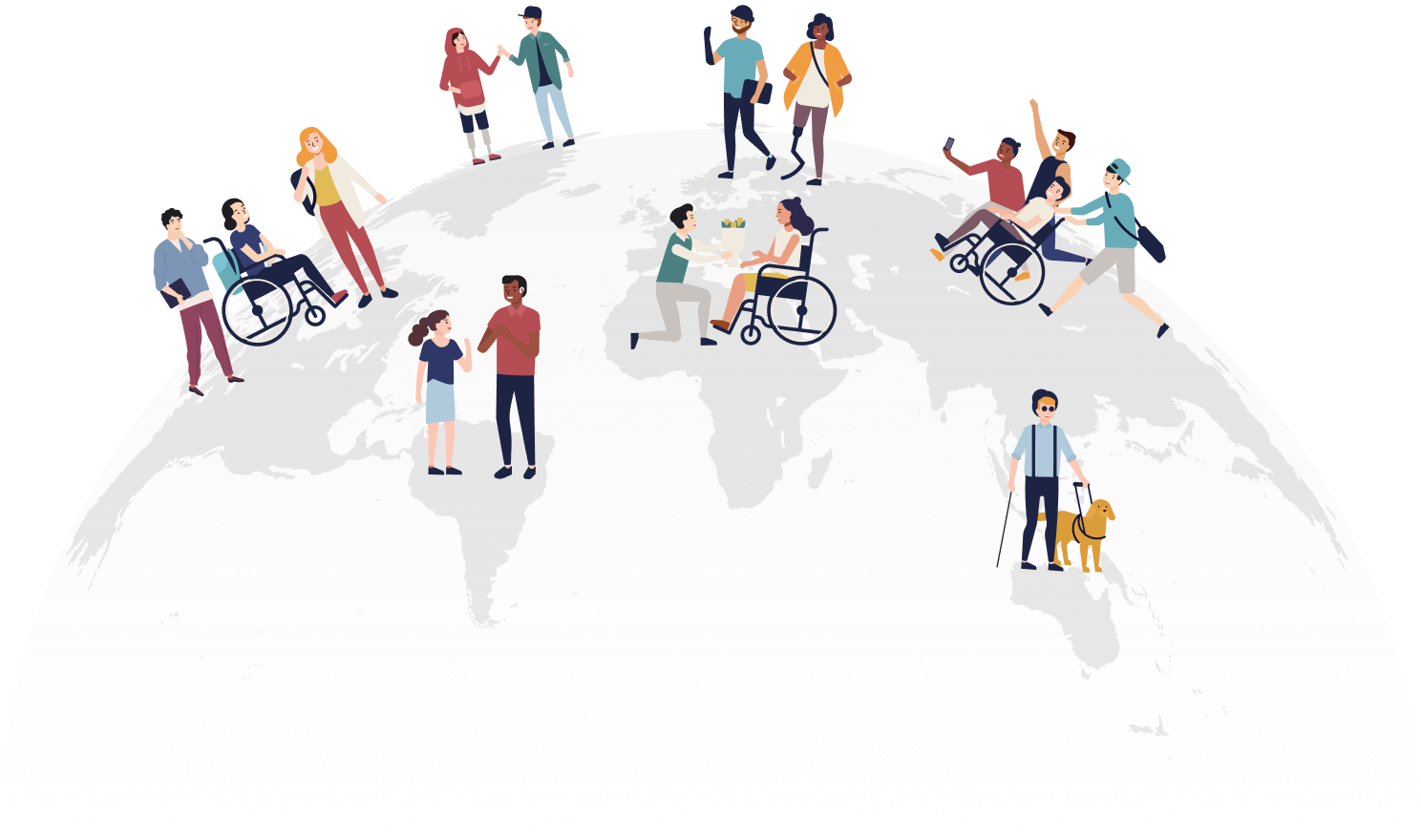 diverse world wide population, with and without disabilities